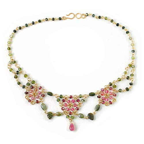 Tourmaline Necklace Handcrafted in 14K Gold Filled Chain Maille; One of a Kind