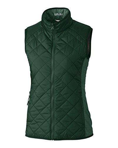 (Cutter & Buck Women's Water-Wind Resistant Sandpoint Quilted Vest with Pockets, Hunter, Small)