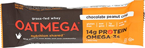 OATMEGA Protein Bar, Chocolate Peanut, Energy Bars Made with Omega-3 and Grass-Fed Whey Protein, Healthy Snacks, Gluten Free Protein Bars, Whey Protein Bars, Nutrition Bars, 1.8 ounce (12 Count)