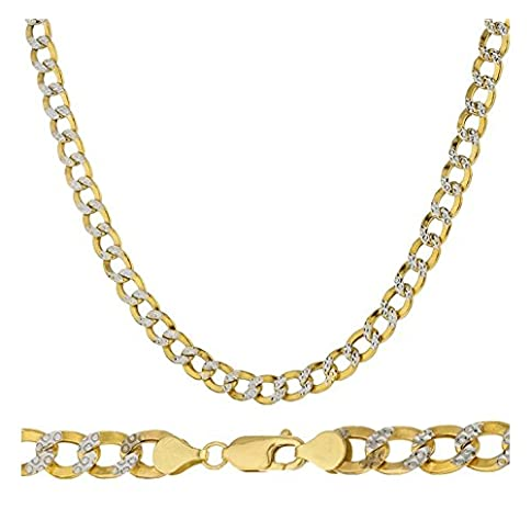 - 41VhMpm7nCL - 14K Yellow Gold 5.5mm Heavyweight Cuban Curb Diamond Cut Pave Chain Necklace or Bracelet