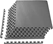 BalanceFrom Puzzle Exercise Mat EVA Foam Interlocking Tiles, Gray