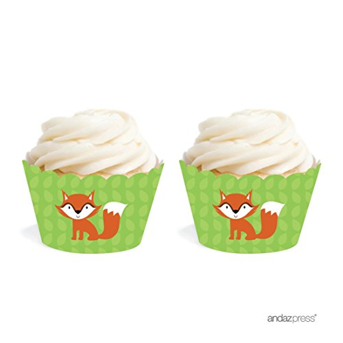 Flat Cup Woodland (Andaz Press Birthday and Baby Shower Cupcake Wrappers, Woodland Fox, 20-Pack, Decor Decorations Wraps Cupcake Muffin Paper Holders)