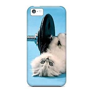 LJF phone case LatonyaSBlack KJMTkpy1952lJmJx Case Cover ipod touch 5 Protective Case Funny Kitten Lifting Weights