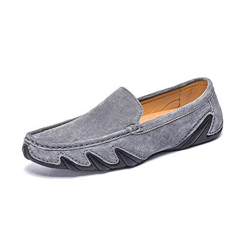 da barca EU Yajie in pelle Color gomma da suola con vera in 39 2018 Mocassini shoes Uomo Grigio Mocassini Nero Dimensione morbida RrZrqtw0