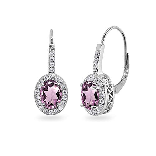 (Sterling Silver Simulated Alexandrite & Cubic Zirconia 8x6mm Oval Halo Drop Leverback Earrings)