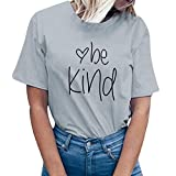 YEZIJIN Women be Kind Letter Print Short Sleeve T-Shirt Tops Blouse Tee 2019 New Under 10 Dollars Gray