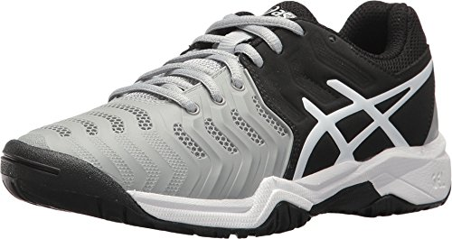 ASICS Gel Resolution 7 GS Junior Tennis Shoe - Mid Grey/Black/White - Size 4