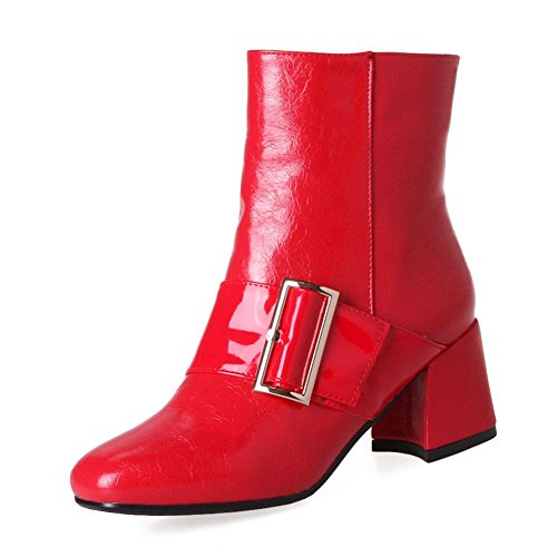KingRover Women's Fashion Buckle Strap Block High Heel Square Toe Ankle Boots Dress Boots Red myrel