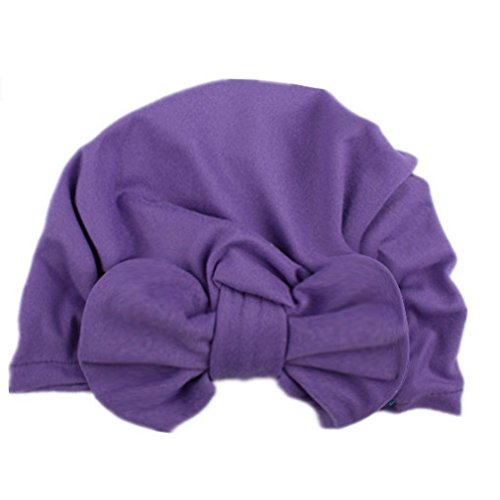 Price comparison product image Leoy88 Newborn Hospital Hat Headband Infant Cap with Big Bow Knot Nursery Beanie (Purple)