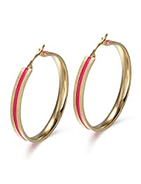 45MM Womens Stainless Steel Red Band Big Hoop Earrings 18K Gold Plated