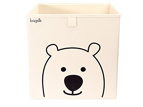 Bagsie's Storage Bin Cube Basket Container Box, Front And Side Handles Foldable 13 Inch Toy Chest Organizer For Kids Bedroom, Nursery, Playroom (Bear, beige) from bagsie