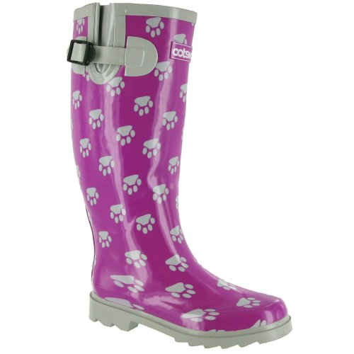 Cotswold Ladies Dog Paw Wellington / Womens Boots Purple