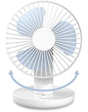 SMARTDEVIL Portable Desk Fan, Lower Noise, USB Rechargeable Battery Operated Fan with Multiple Speeds, 3000Mah Battery for Home, Office, Dormitory,Desktop,Table Fans,120 degree adjustment (Whte)