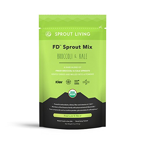Sprout Living Broccoli and Kale Organic Sprout Mix, Freeze Dried Superfood Greens Powder, 100% Pure, Vegan, Non-GMO, Gluten Free (4 ounces, 32 servings)