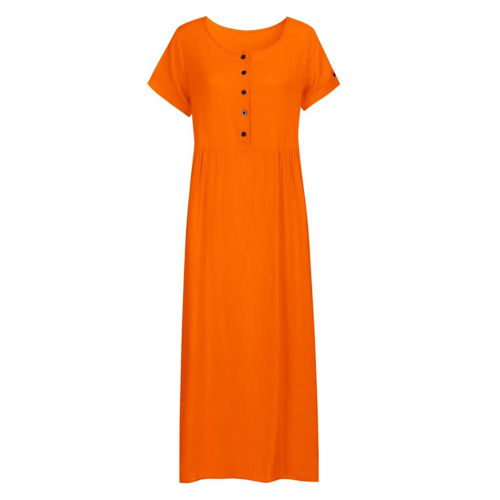 Nuewofally Maxi Dress for Women Splice Button Dress Solid Cotton Long Dress Casual Puffy Swing Dress Wedding Party(Orange,S)