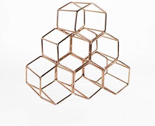 Koyal Wholesale Modern Metal Copper Geometric Wine Rack