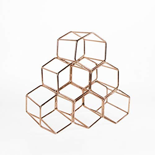 (Koyal Wholesale Modern Metal Copper Geometric Wine Rack, 12.5-inches 6 Bottle Wine Glass Rack Stand, Table Top, Countertop Wine Rack, Wine Glass Holder, Hexagon Iron Wine Stand for Kitchen and Bar)