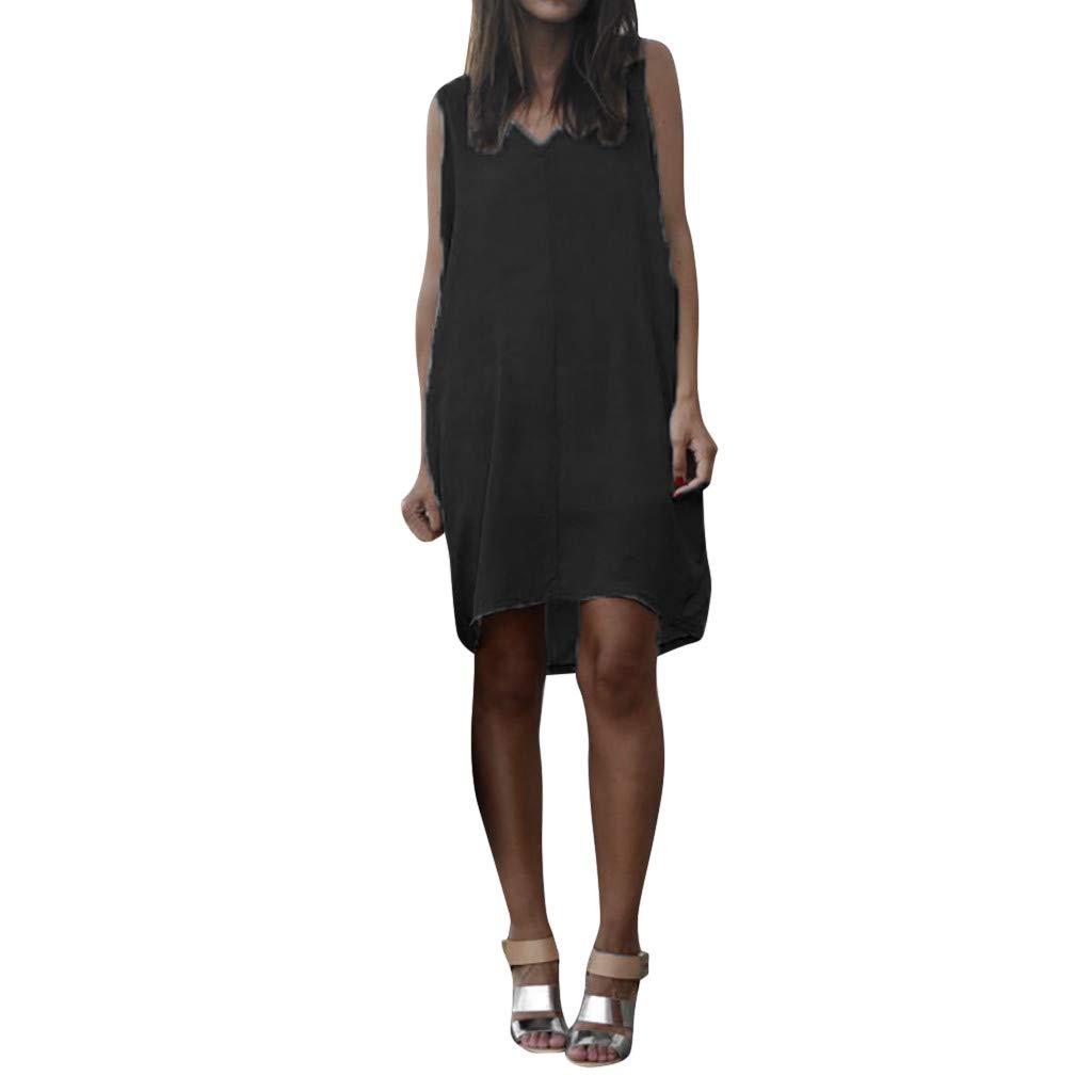Keliay Dress for Women Summer, Summer Women Casual Sleeveless Tank V Neck Loose Beach Holiday Dress Black