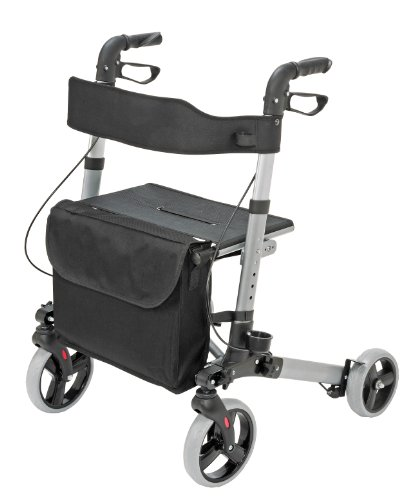 HealthSmart Euro Style Rollator Walker, Compact Folding Walker, Lightweight Aluminum Walker, Titanium by HealthSmart