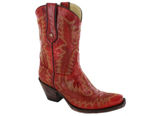 Corral Womens G1900 Stivale 100% Pelle Rosso