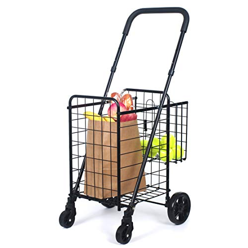 Adjustable Utility Compact Cart (Compact Folding Grocery Shopping Cart - Supenice (SN7502) Double Basket, Adjustable Height Handle, Easily Collapsible, Light Weight Utility Cart with Rolling Swivel Wheels)