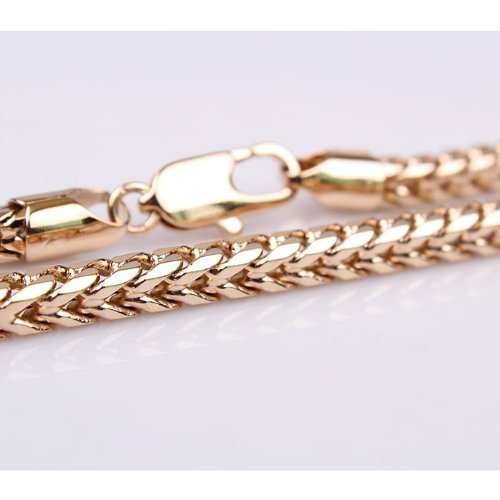 Trendy 18k Rose Gold Plated Cubic Necklace Chain Men Women (495 Link)