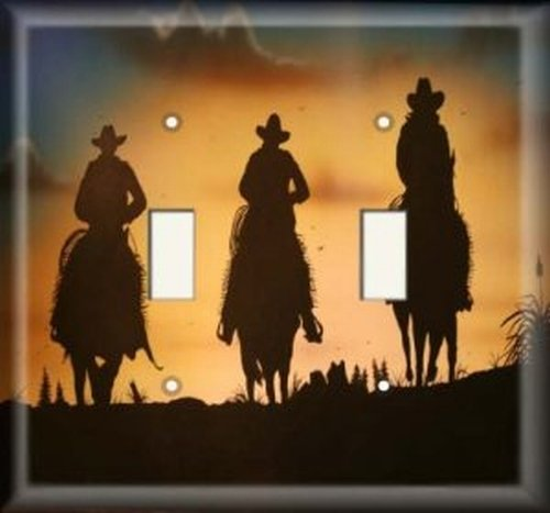 Double Light Switchplate Cover - Cowboy Silhouette