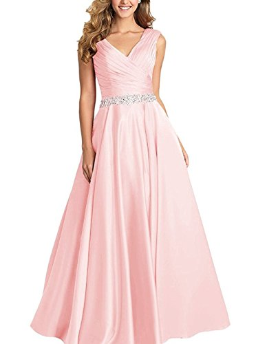 Dannifore Pink V-Neck Pleated Satin Prom Dress Beaded Long Formal Evening Gowns for Women Size 22W