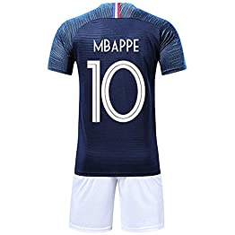 Brofans Garçon Ensemble de T-Shirt et Short Coupe du Monde France 2 étoiles Football Survêtement Maillot du Monde 2018