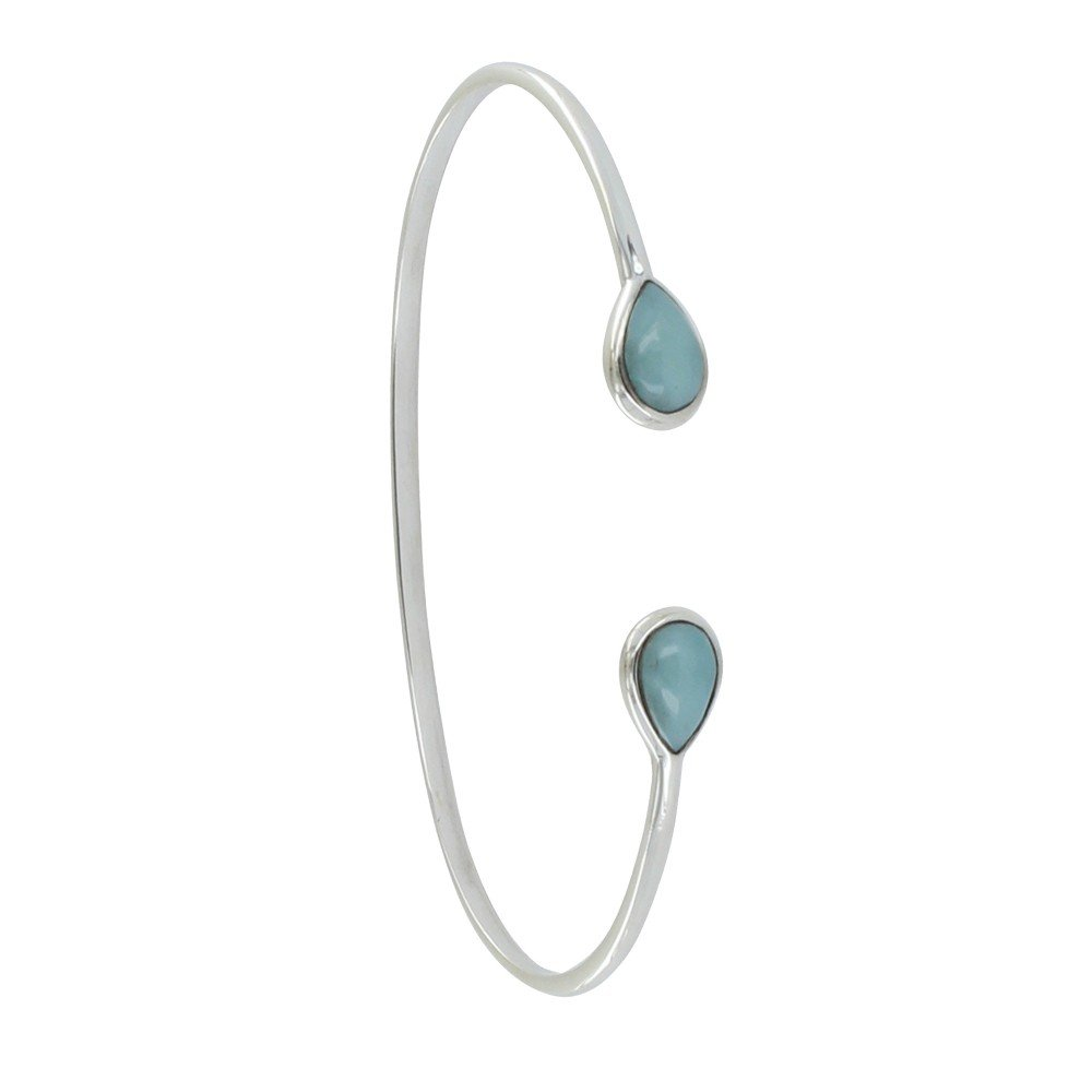 Les Poulettes Jewels - Sterling Silver Bracelet Two Drops of Larimar