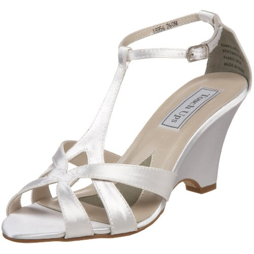 Touch Ups Women's Lucy Ankle Wrap Sandal,White,7 M (Satin Ankle Wrap Sandal)