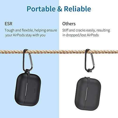 [改善版]ESR AirPods Pro ケース 2019 充電ケースカバー(2019年10月発売)用 シリコン ソフトスリムカバー キーチェーン付き バウンスキャリングケース 前面のLEDライトが隠れない ワイヤレス充電対応 衝撃吸収保護シリコンカバー(ダークブラック)