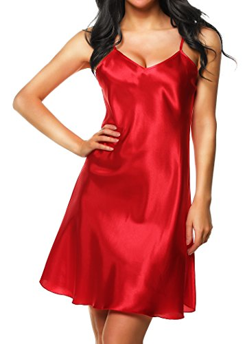 Cabreao Chemise Dress Sexy Nighties Satin Nightgowns Slip Sleepwear Sleep Shirt (US XXL, Strawberry Red)