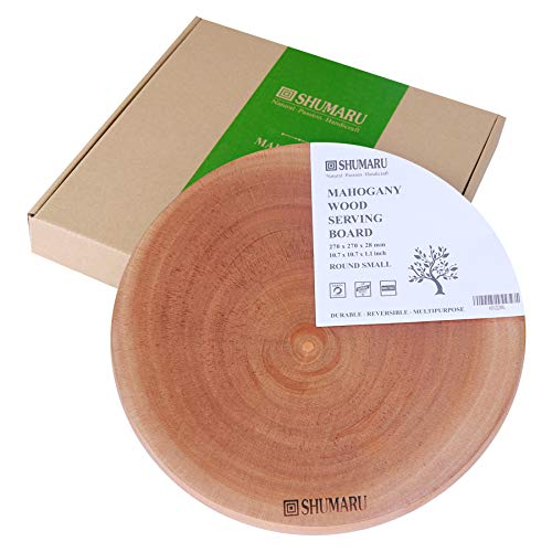 (MAHOGANY Thick Round Wood Cutting Board (Gift Box Included) | 10.7x10.7x1.1