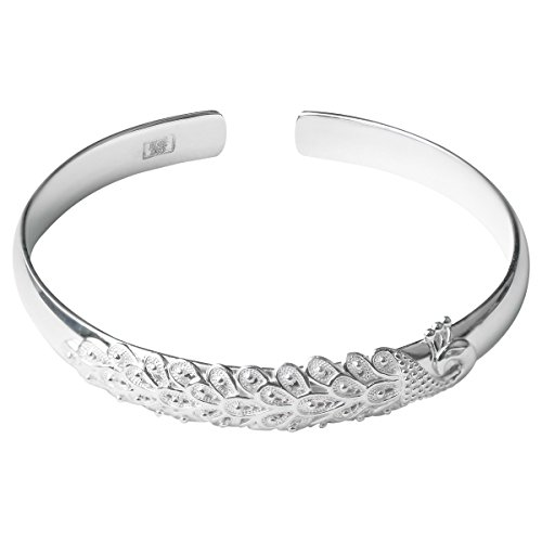 Merdia Sterling Silver Cuff Bangles Bracelet Adjustable Open-Designed Peacock Bracelets for Women ()