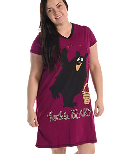 Huckleberry Women's Animal Pajama Nightshirt by LazyOne | Cute Animal Nightgowns for Ladies (L/XL) ()