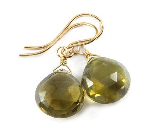 Olive Quartz Earrings - 14k Gold Filled Olive Quartz Earrings Faceted Briolette Heart Shaped Drops