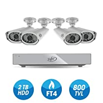 SVAT Pro Widescreen 4CH Security DVR with 2TB HDD Including 4 Video Surveillance 800TVL Cameras with 150ft Long-Range Night Vision and Remote Smart Phone Viewing