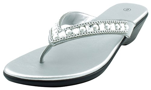 Cambridge Select Women's Studded Crystal Rhinestone Bead Chain Thong Flip-Flop Mid Wedge Sandal (10 B(M) US, Silver)