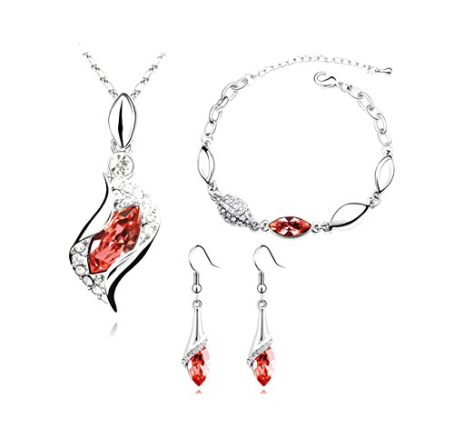 [RuSong Platinum-plated Fashion Jewelry Set with Imported Crystal Element with 6 Colors Type Red] (Bethany Mota Halloween Costumes 2016)