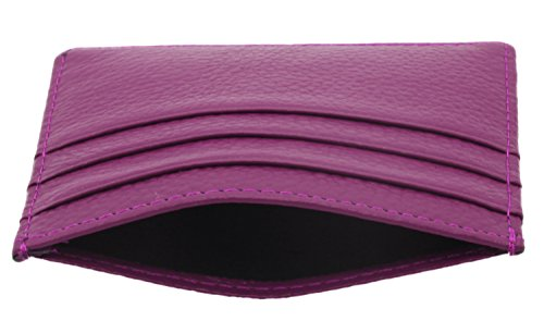 Della Vera nbsp;in Rfid Carte Small Pelle Blocking Con Unisex Sottile Porta Brown Purple Copertura Finestra nbsp;– AqnU1aw