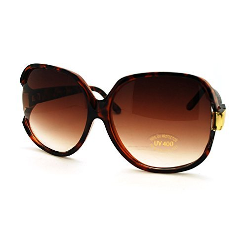 Tort Brown Super Oversized Sunglasses Womens Classic ROUND CELEBRITY PRIVACY Shades - Sunglasses Celebrity Round