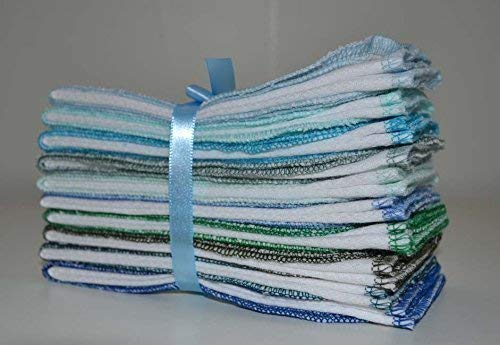 1 Ply Organic Cotton Paperless Towels 14x14 Inches Set of 10 in Blues and Greens
