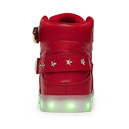 JiuJinGS SEYMEZLIWE Women Men High Cool High Top LED Shoes LED Light Up Sneaker & 7 Color Light & USB Charger Flashing Sneakers Adult Shoes Red2 nd4paKX1tw
