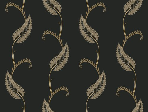 Waverly 5513022 20.5-Inch Wide Geddy House Leaf Wallpaper, Black and Gray
