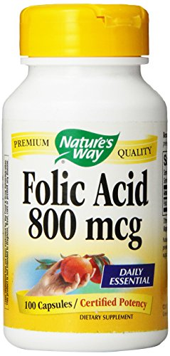 Nature's Way Folic Acid 800 mg Caps, 100 ct