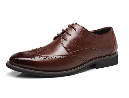 Verniciata Pelle 38 Uomo Vintage Rosso Sera Oxford 48EU Elegante Brogue Nero Marrone Stringate Marrone Scarpe Basse Derby Blu vw5qvd