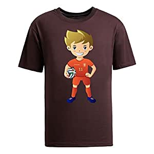 Custom Mens Cotton Short Sleeve Round Neck T-shirt,2014 Brazil FIFA World Cup UP71 brown by Maris's Diary