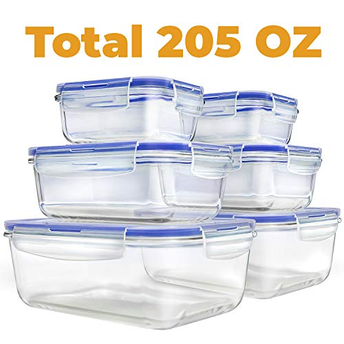 [6 Pack 205 OZ] - Glass Meal Prep Containers - Food Prep Containers with Locking Lids - Food Meal Prep Storage Containers Airtight - Glass Bento Box Lunch Containers - BPA Free Container