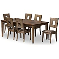 Baxton Studio 7 Piece Edwige Shabby Chic Country Cottage Weathered Gray/Oak Brown 2-Tone Extendable Dining Set